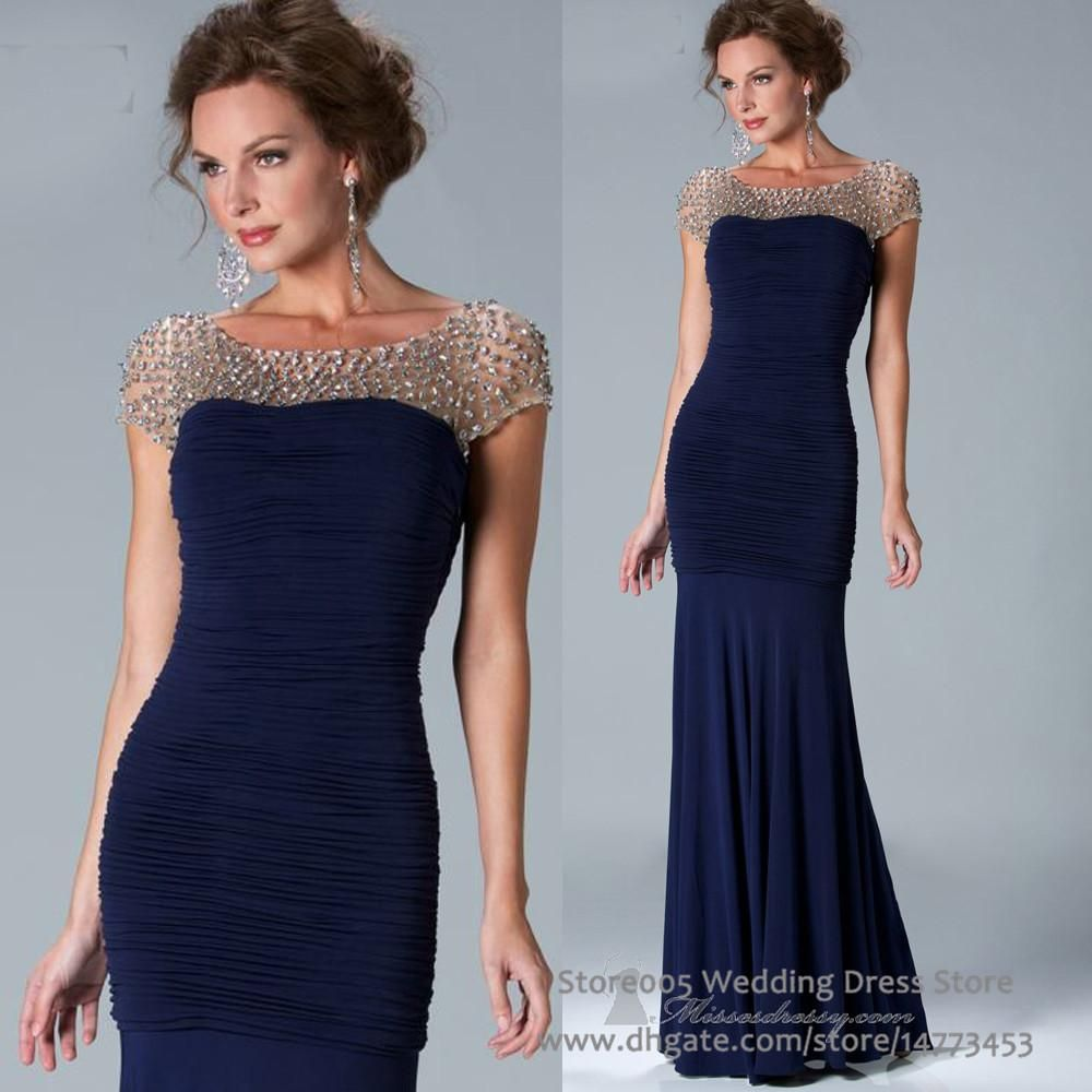 Unique Navy Blue Mermaid Mother of Bride Dresses Cap Sleeve Crystals ...