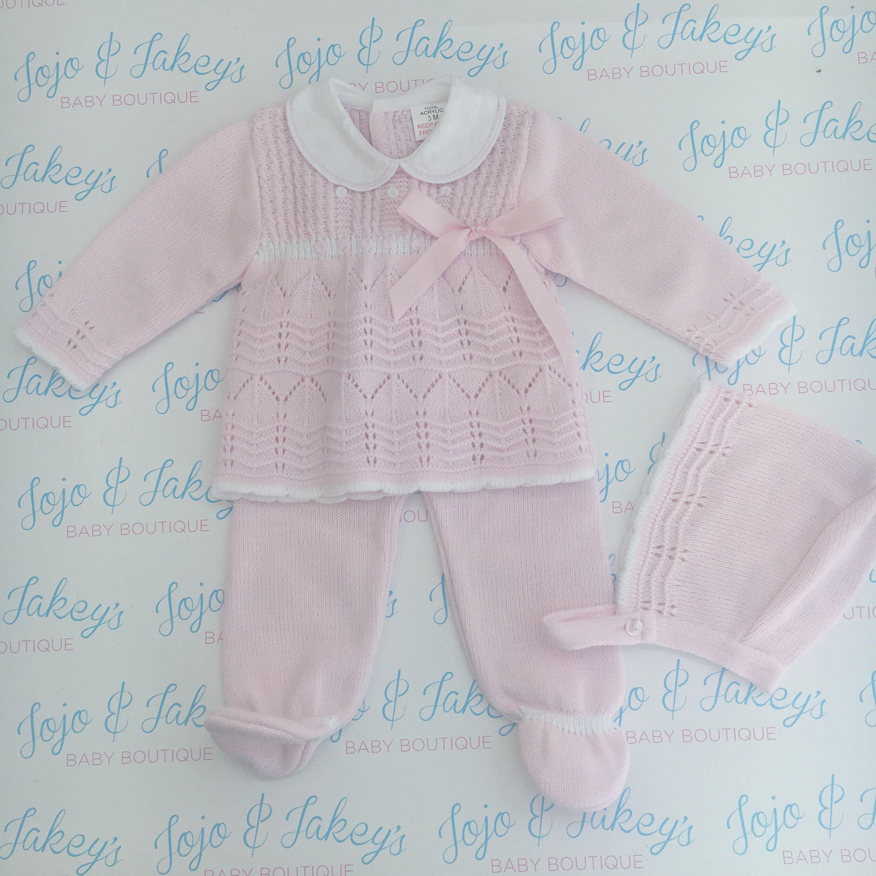 *A New*  Baby Girls Romany Spanish Pink 3 Piece Dress Set Age 6M-12M