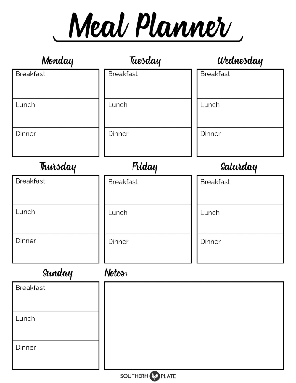 Free Printable Menu Planner Sheet Southern Plate With