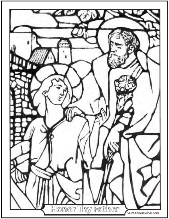 Joseph And Jesus Coloring Sheet Happy Fathers Day Ten Commandments Bible ClassThis Site Has Many Wonderful Pages