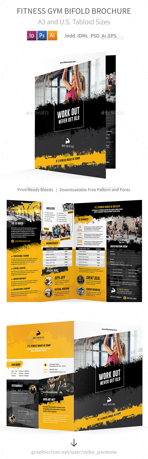 Fitness Bifold  Halffold Brochure   Brochures And Brochure Template