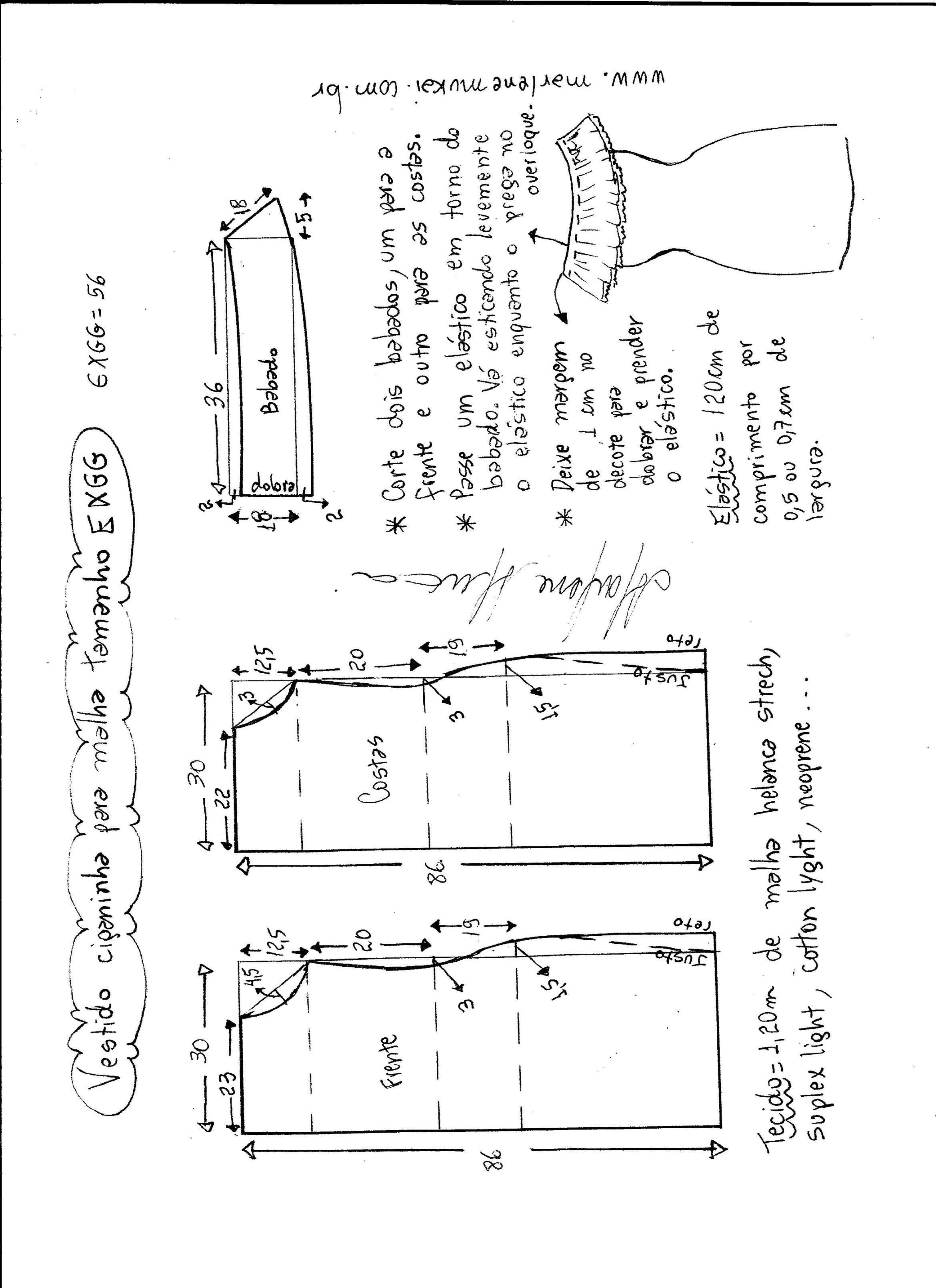 Vestido ciganinha para malha | Molde, Moldes de ropa y Costura