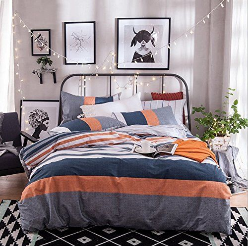Gray Orange Navy Blue And White Stripe Duvet Cover Sets Queen Size Cotton Spring Summer 4pcs Beddin Blue And Grey Bedding Yellow Bed Linen Striped Duvet Covers