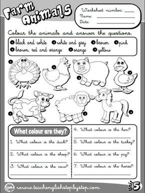 farm animals worksheet 3 b w version simple sentences english teaching materials. Black Bedroom Furniture Sets. Home Design Ideas