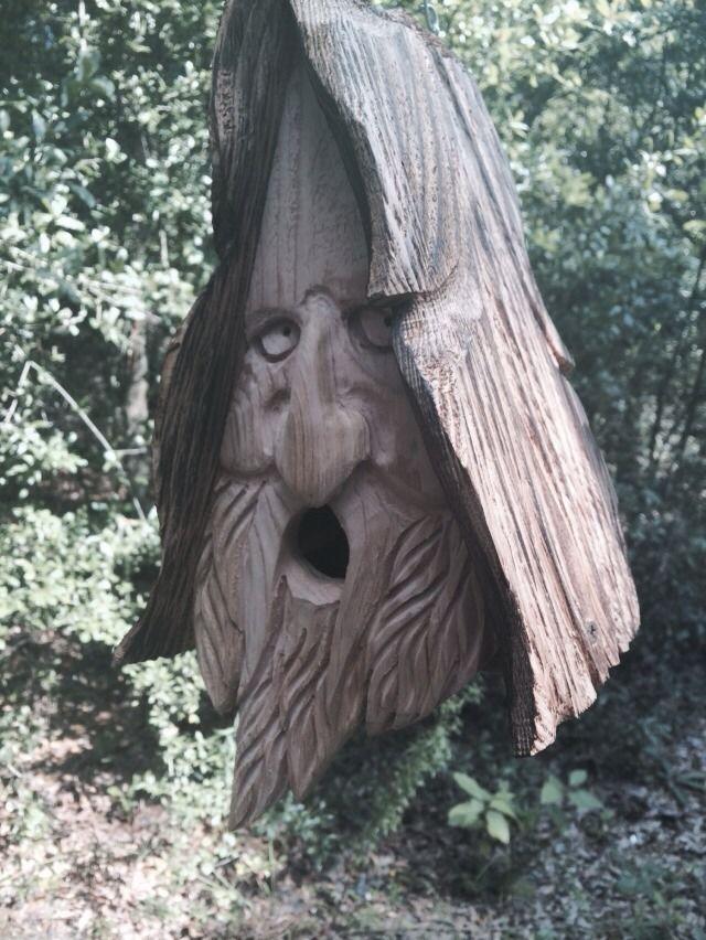 Wood Spirit Unique Old Man Rustic Hand Carved Cedar Bird House Birdhouse |  EBay