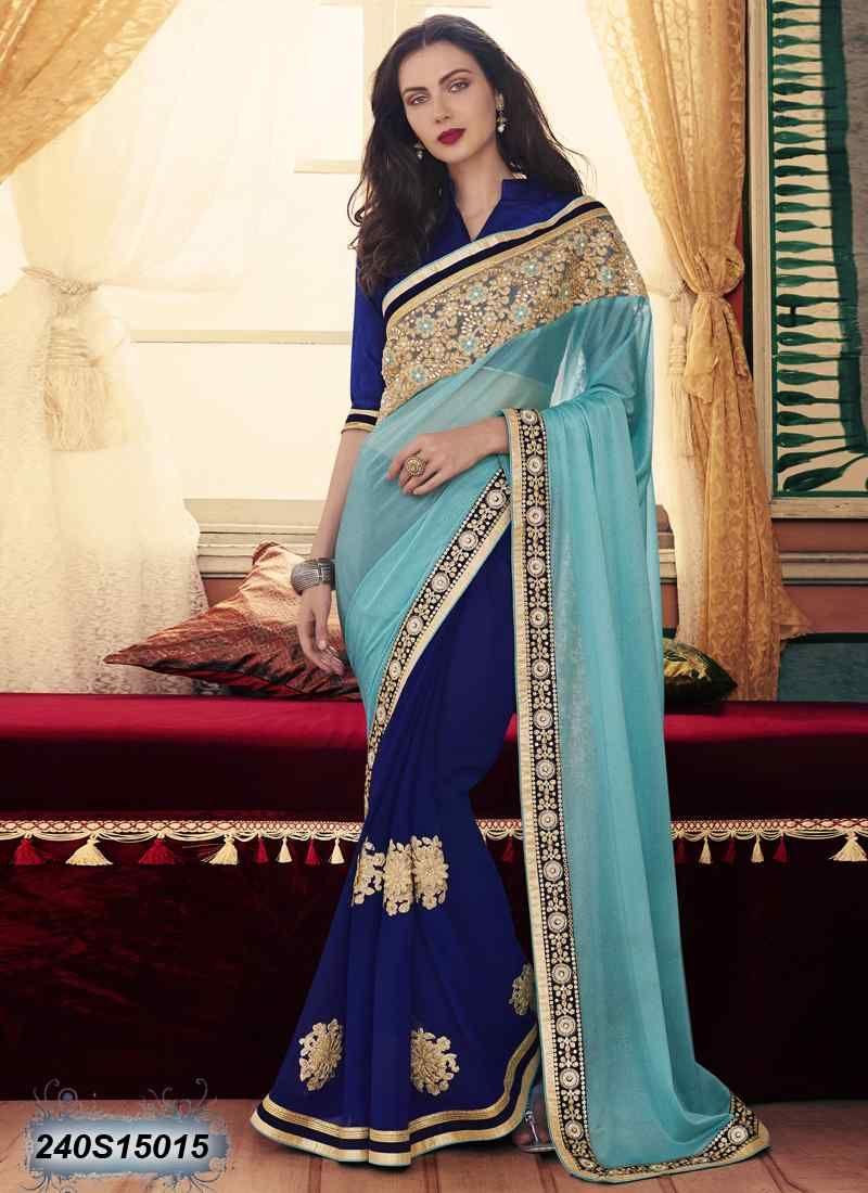 41e52f41810650 Pleasant Navy Blue Coloured Georgette Embroidered Saree