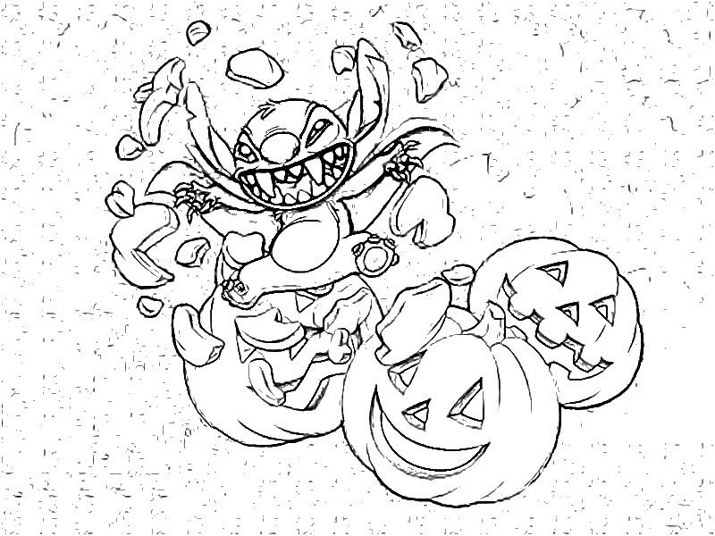 Color Page Halloween Stitch Halloween Coloring Pages - Stitch Halloween Coloring Page