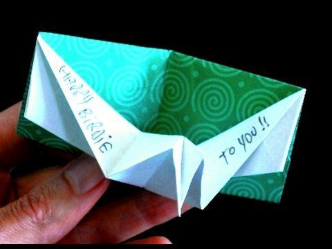 How To Make An Origami Birthday Pop Up Card Folded Pinterest