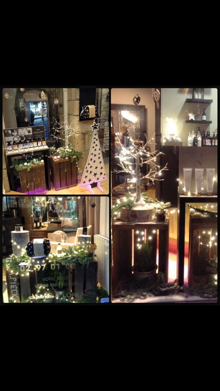 Vitrine de Noël naturel bois produits davines vannes  Deco salon