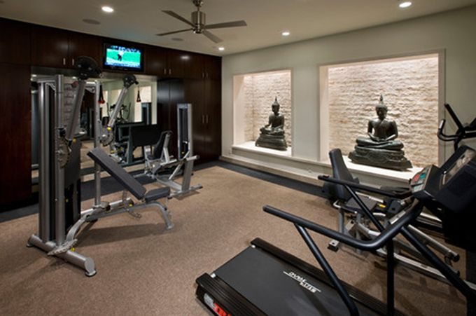 Basement gym lighting house stuff in home gym design at