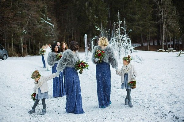 Winter Wedding Bridesmaids | Image by Eight Bells - Wedding Imagery