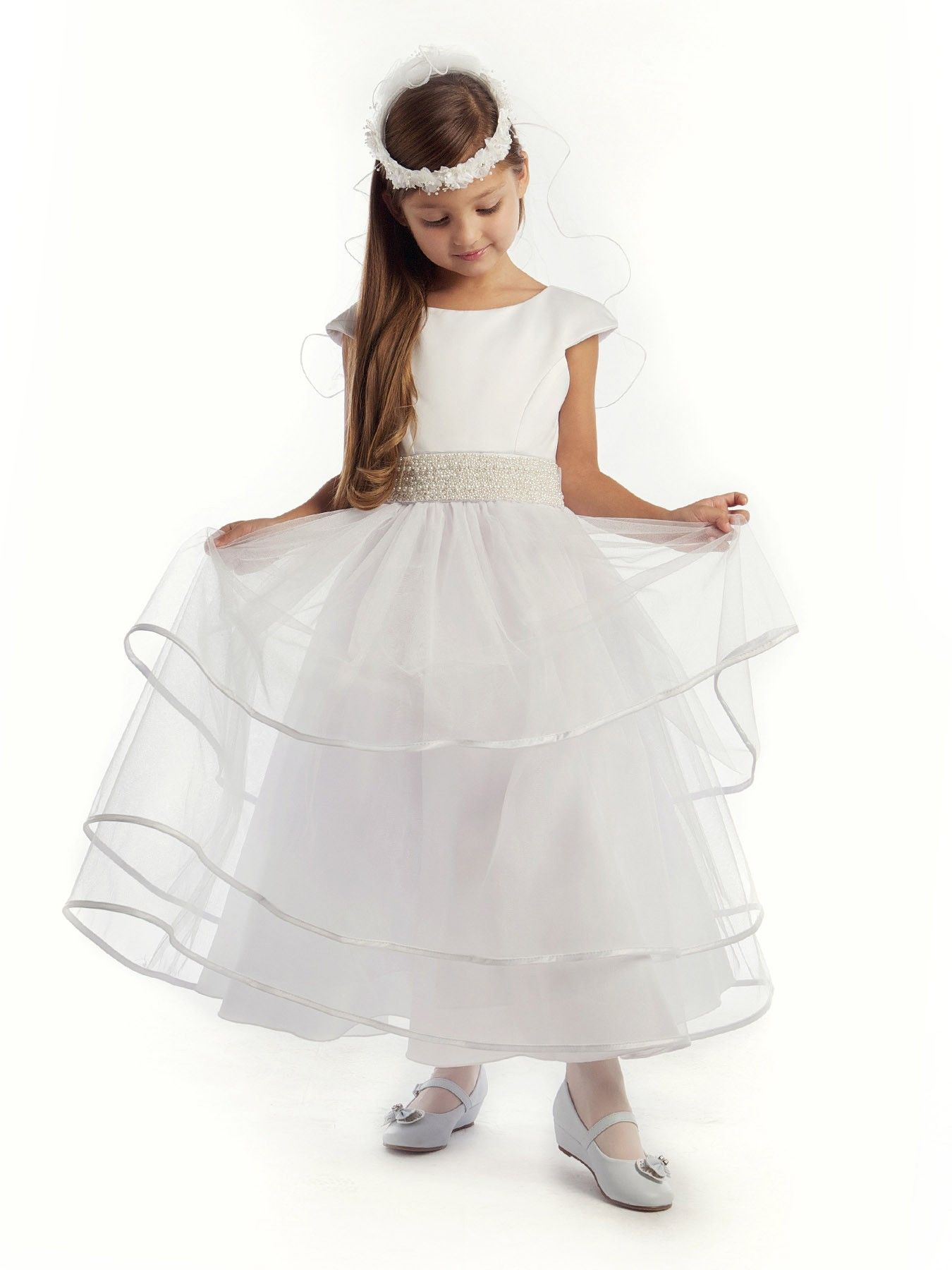 White Gorgeous Satin and Tulle with Pearl Sash Girl Communion ...