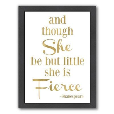 Americanflat Fierce Shakespeare by Amy Brinkman Framed Textual Art Size: