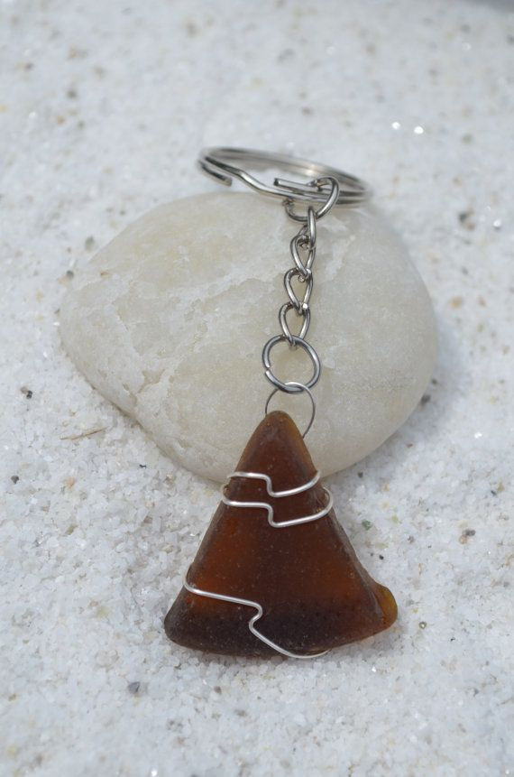 Genuine frosted amber brown sea glass keychain. Genuine hand wire wrapped frosted sea glass and silver chain keychain for keys. The sea glass is