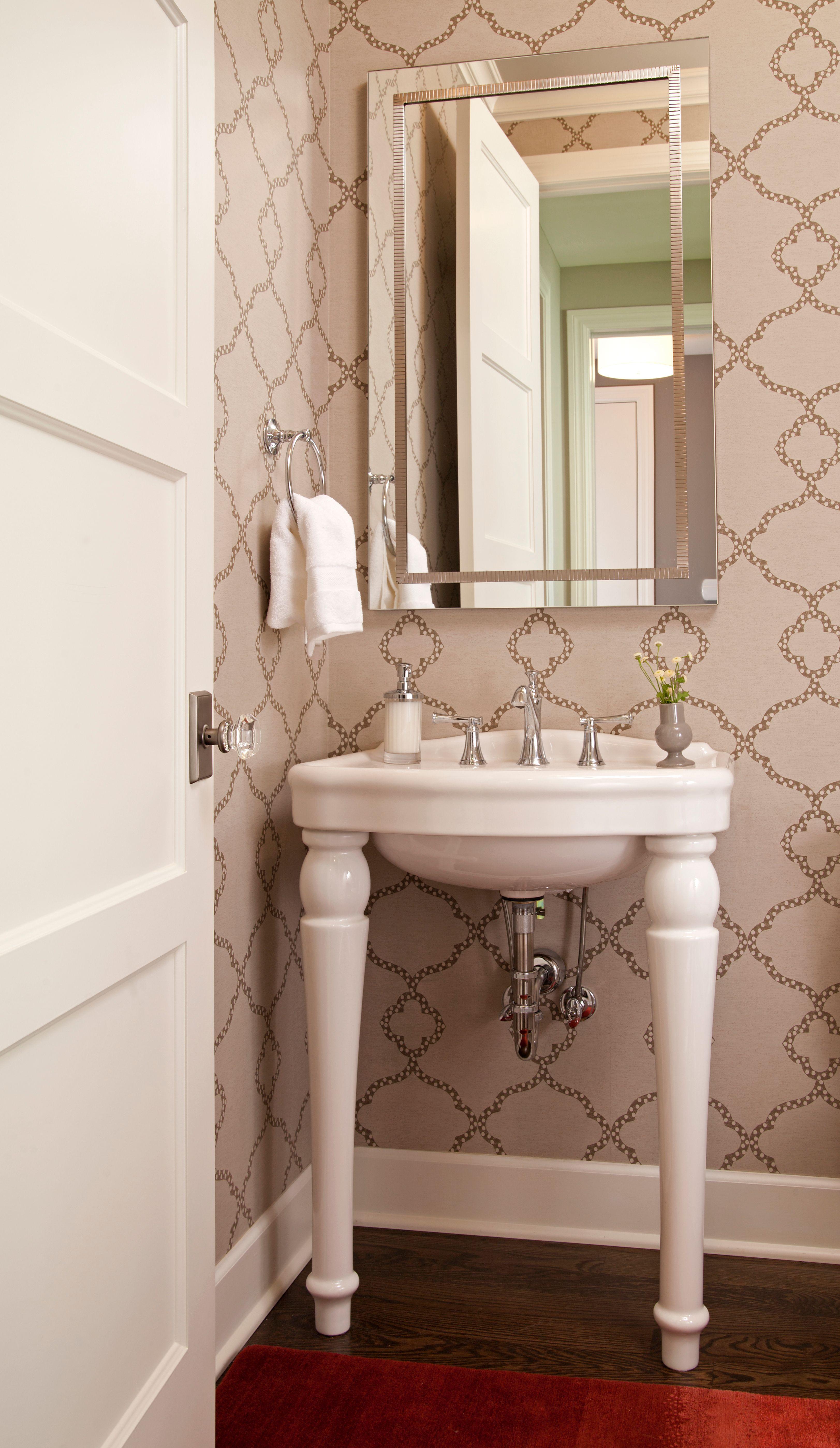Bathroom vanities minneapolis - Small White Pedastool Type Bathroom Vanity With Bold Wallpaper And Double Beveled Mirror Designed