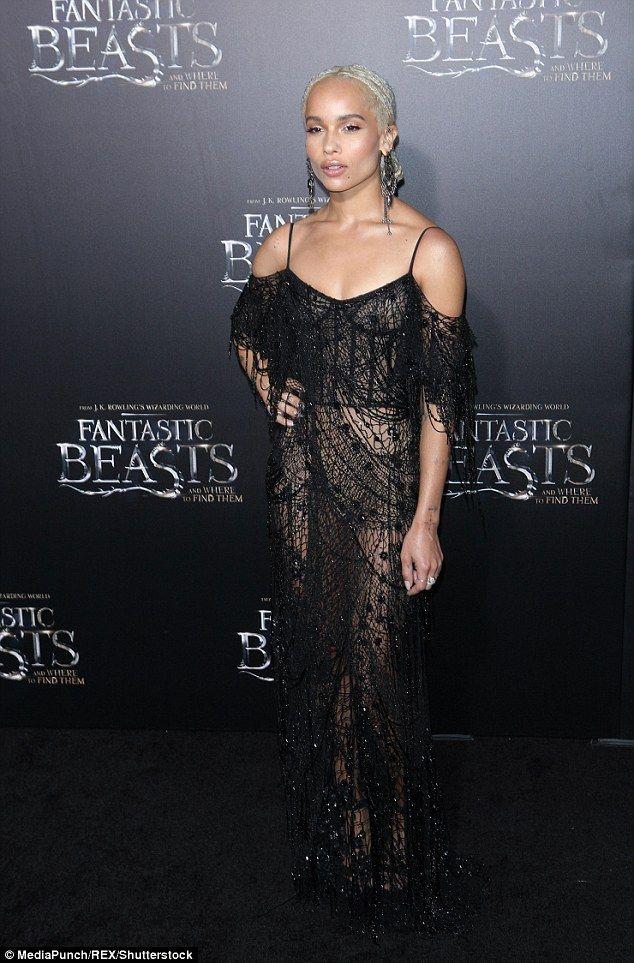 Zoe Kravitz wears black mesh gown for Fantastic Beast premiere in NY f4ff1b0b2bd