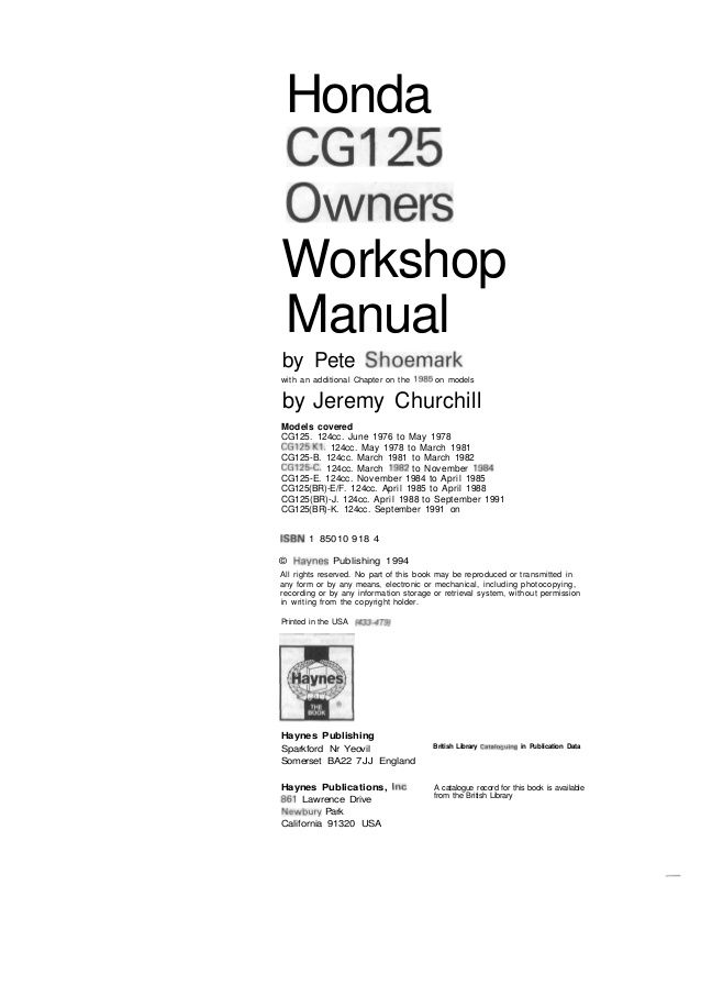 Honda CG125 Owners Workshop Manual by Pete Shoemark with