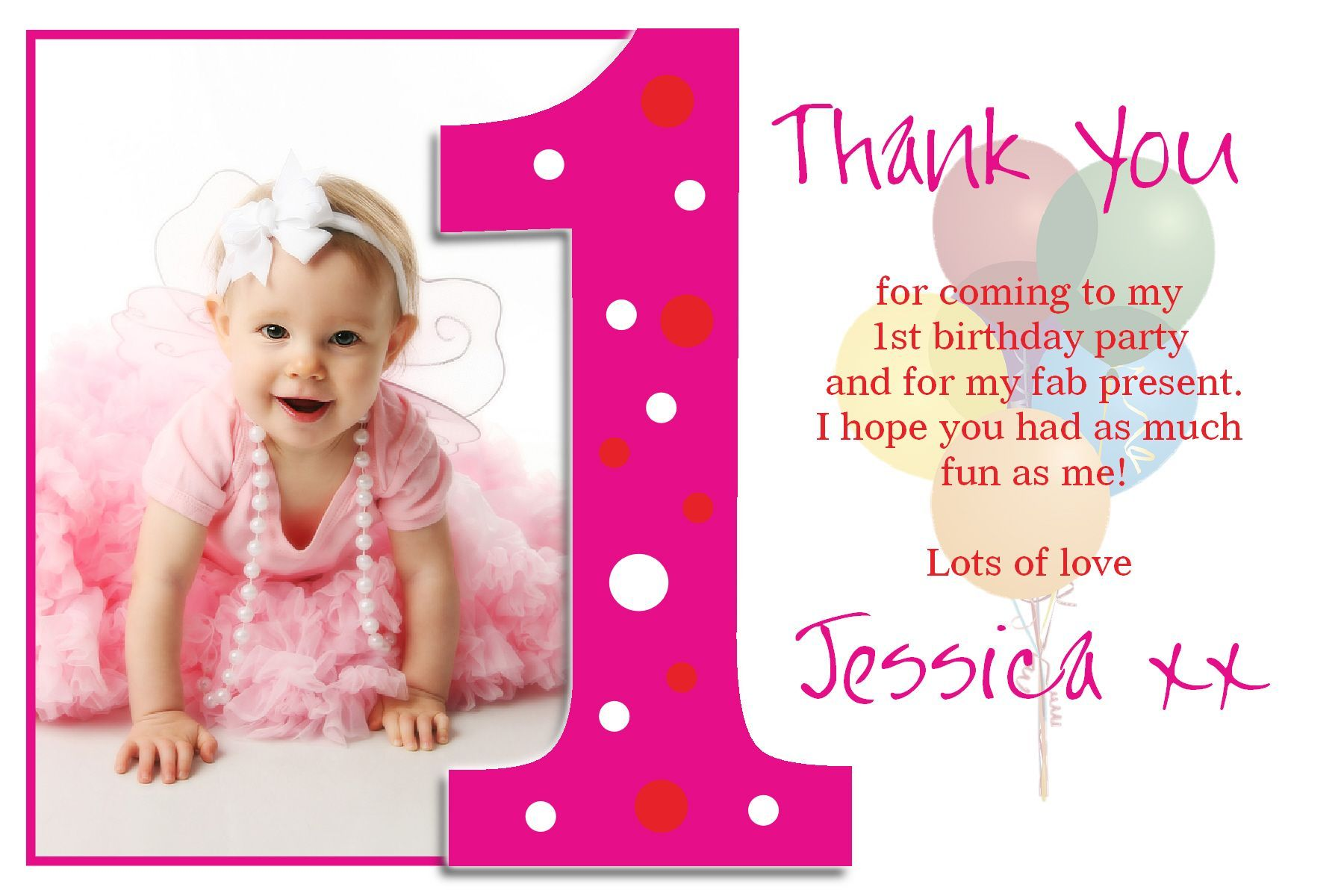 Personalised Christening Thank You Cards Personalised Baptism 1st Birthday Invitations Girl Birthday Invitation Card Template First Birthday Invitation Cards