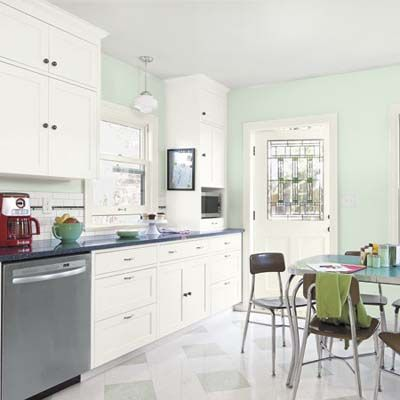 White Kitchen Green Walls