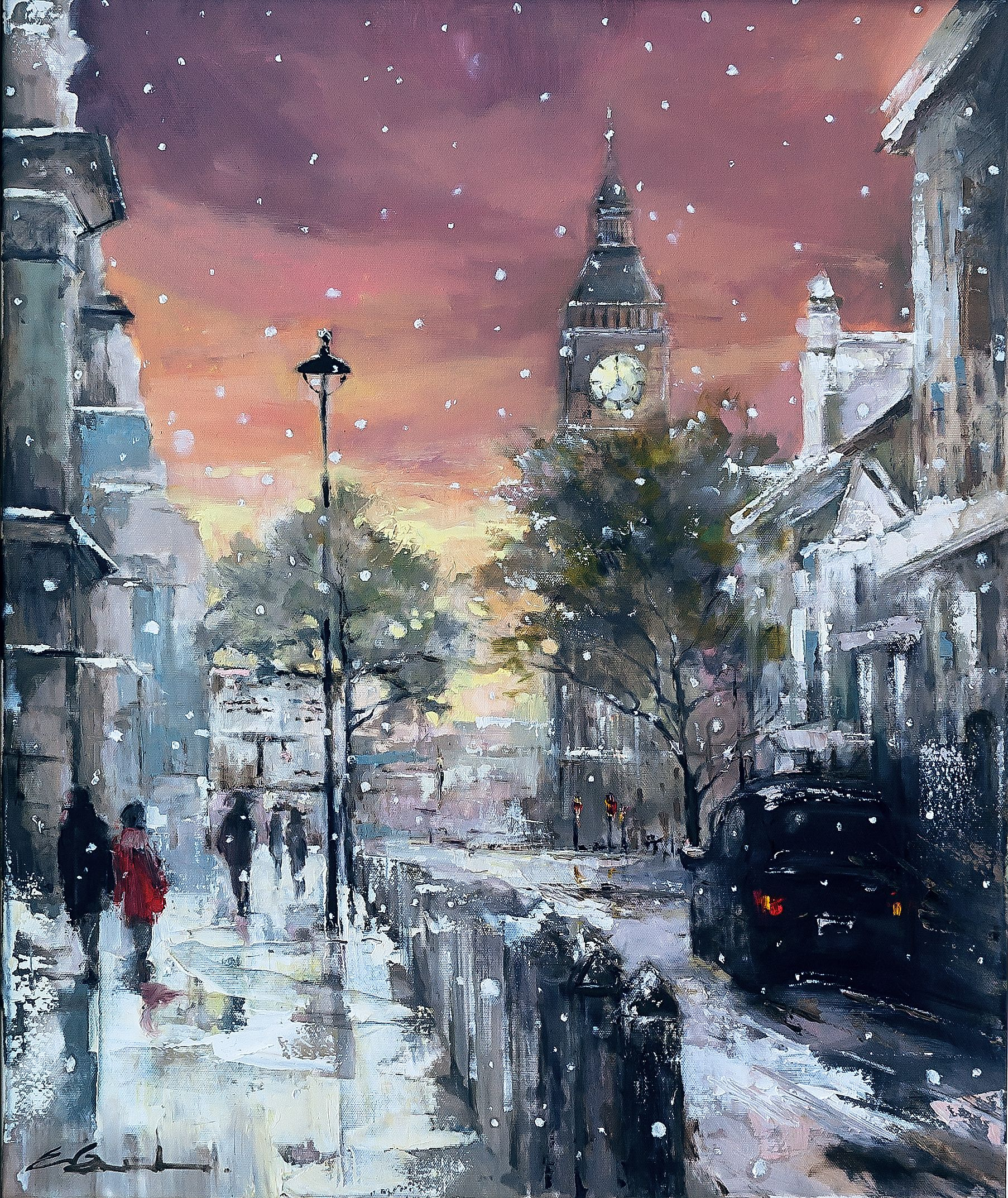 'Snowfall in Westminister' oil on canvas 50x60cm  Limited edition Prints Available