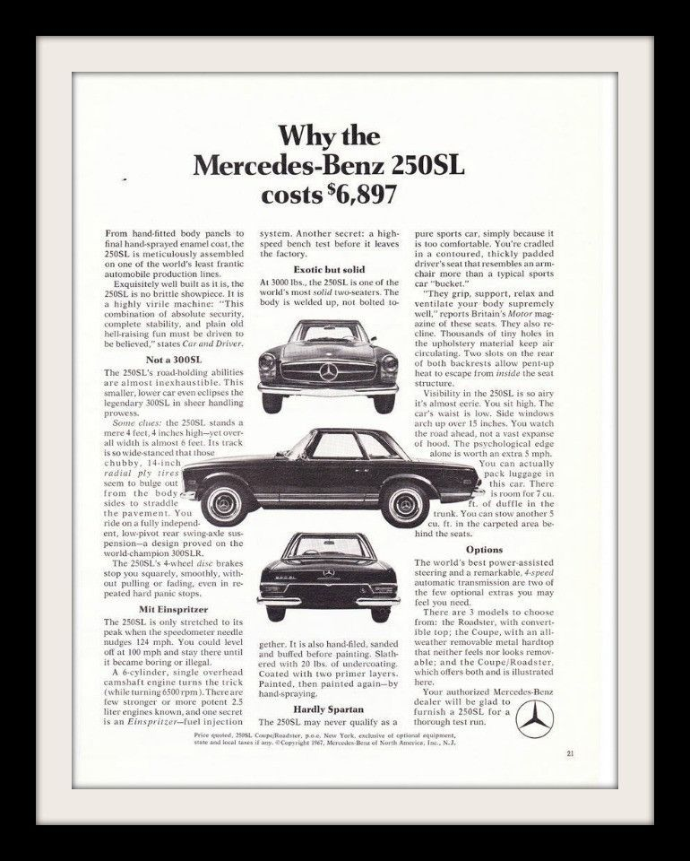 An Original 1968 Advertisement For The Mercedes Benz 250sl A Black And White Photo Detailing The Front Of Car Featuring The Benef Benz Mercedes Benz Mercedes