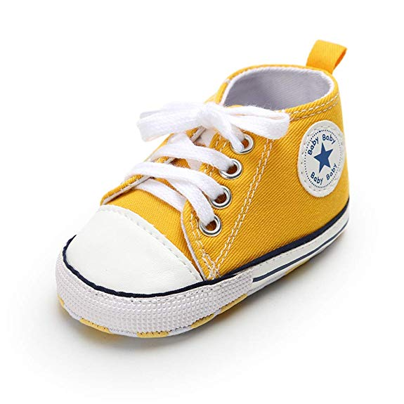 Newborn Infant Baby Girl Boy Crib Shoes Soft Sole Anti-slip Sneakers Canvas 0-18