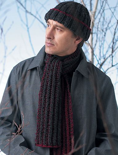 Classic and easy rib-pattern hat and scarf will be sure to please any guy. Hat sized to fit average man's head. Scarf measures approximately 6 x 50 inches (15 x 127 cm). Shown in Patons Shetland Chunky knit using size 6 mm (U.S. 10) needles. (Patons Yarns)