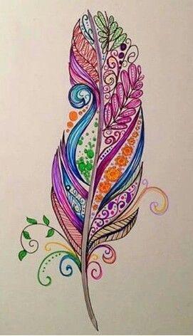 pluma de colores proyectos que debo intentar tatuajes