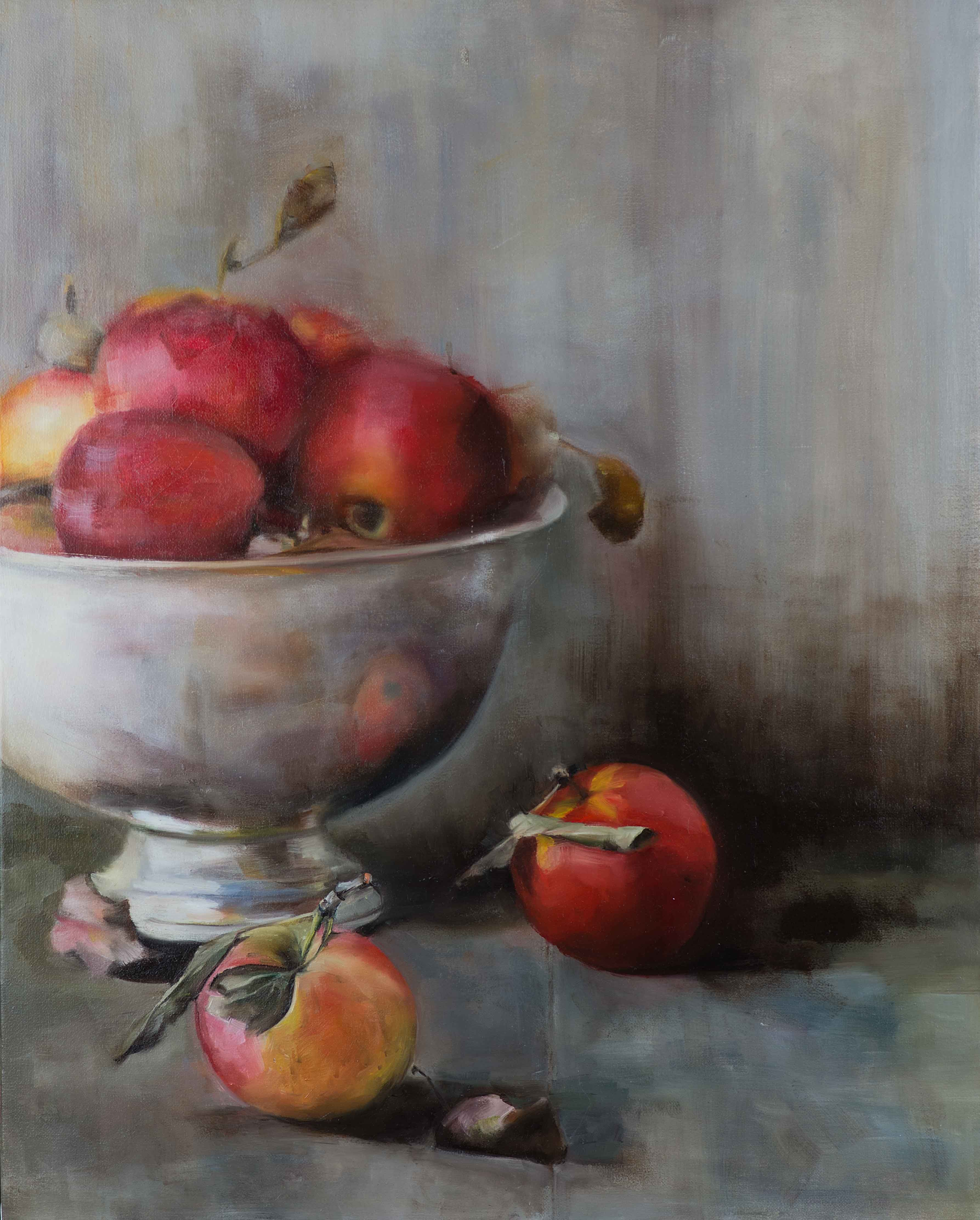 'Apples in Silver Bowl', oil on canvas painting, by artist Trish Ann Mitchell.