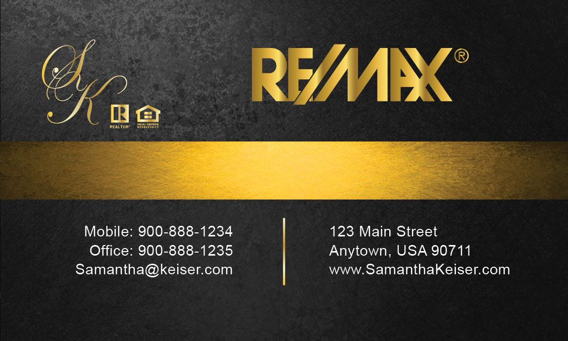Business Cards Real Estate Black Remax Business Card My