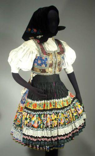 RARE Slovak Folk Costume Embroidered Linen Blouse Skirt Apron Vest Ethnic Kroj   eBay