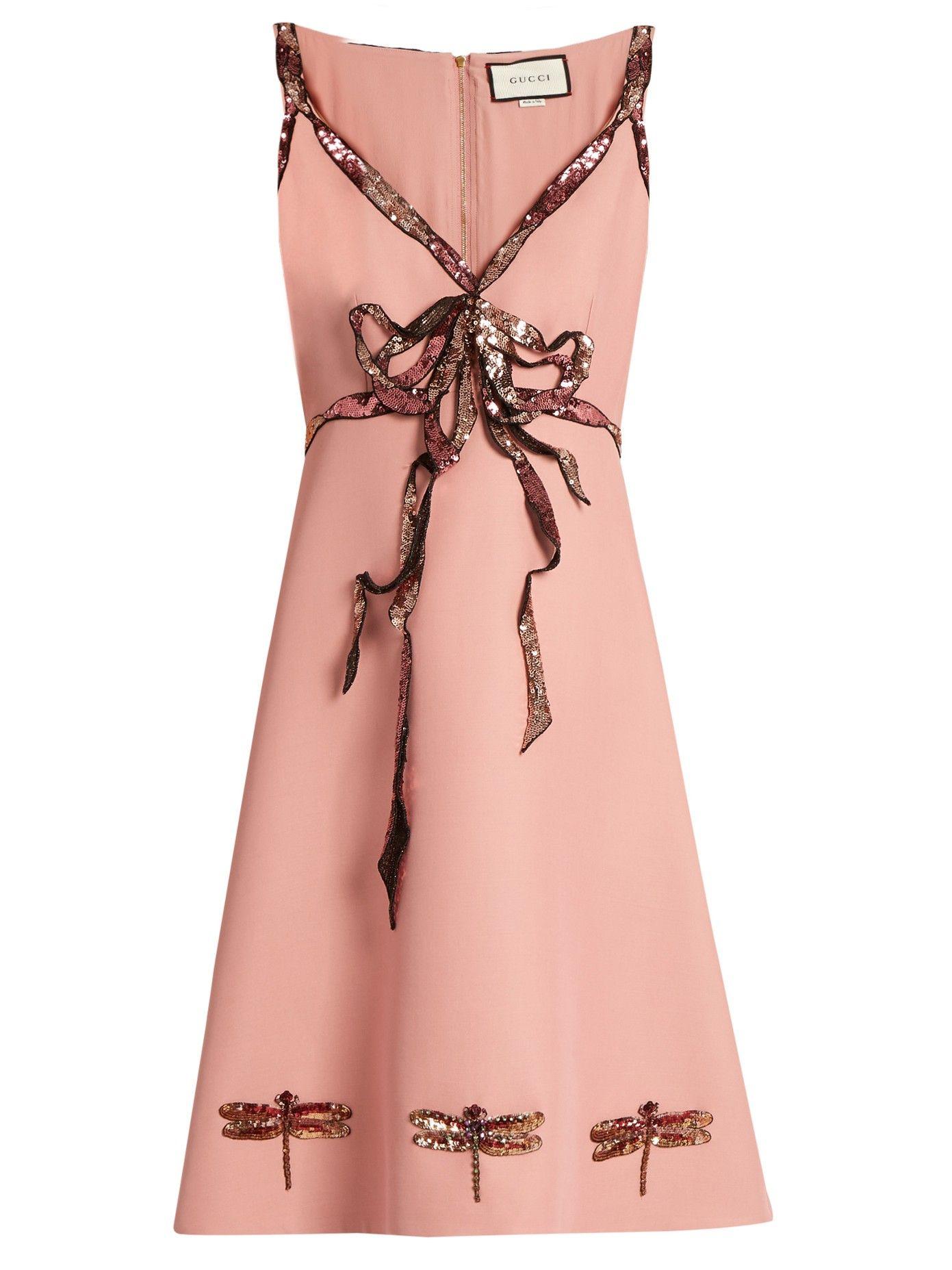 Trompe-l\'œil sequin-bow sleeveless cady dress | Gucci ...