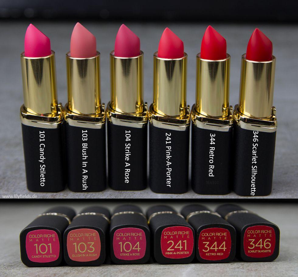 L'Oréal Color Riche Matte Lippenstifte – Review und ...