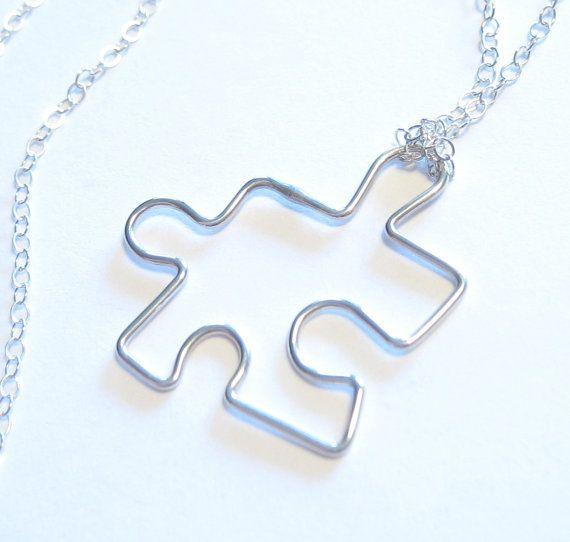 Puzzle Piece Charm Pendant Sterling Silver Necklace