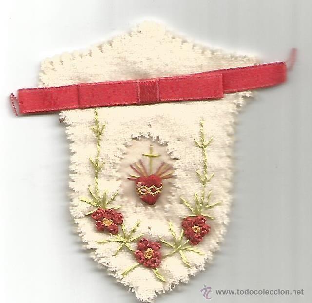 Antiguo Detente Niño Niña Sagrado Corazón Jesús Está Conmigo Seda Y Fieltro Bordado Sagrado Corazon Corazones Bordado