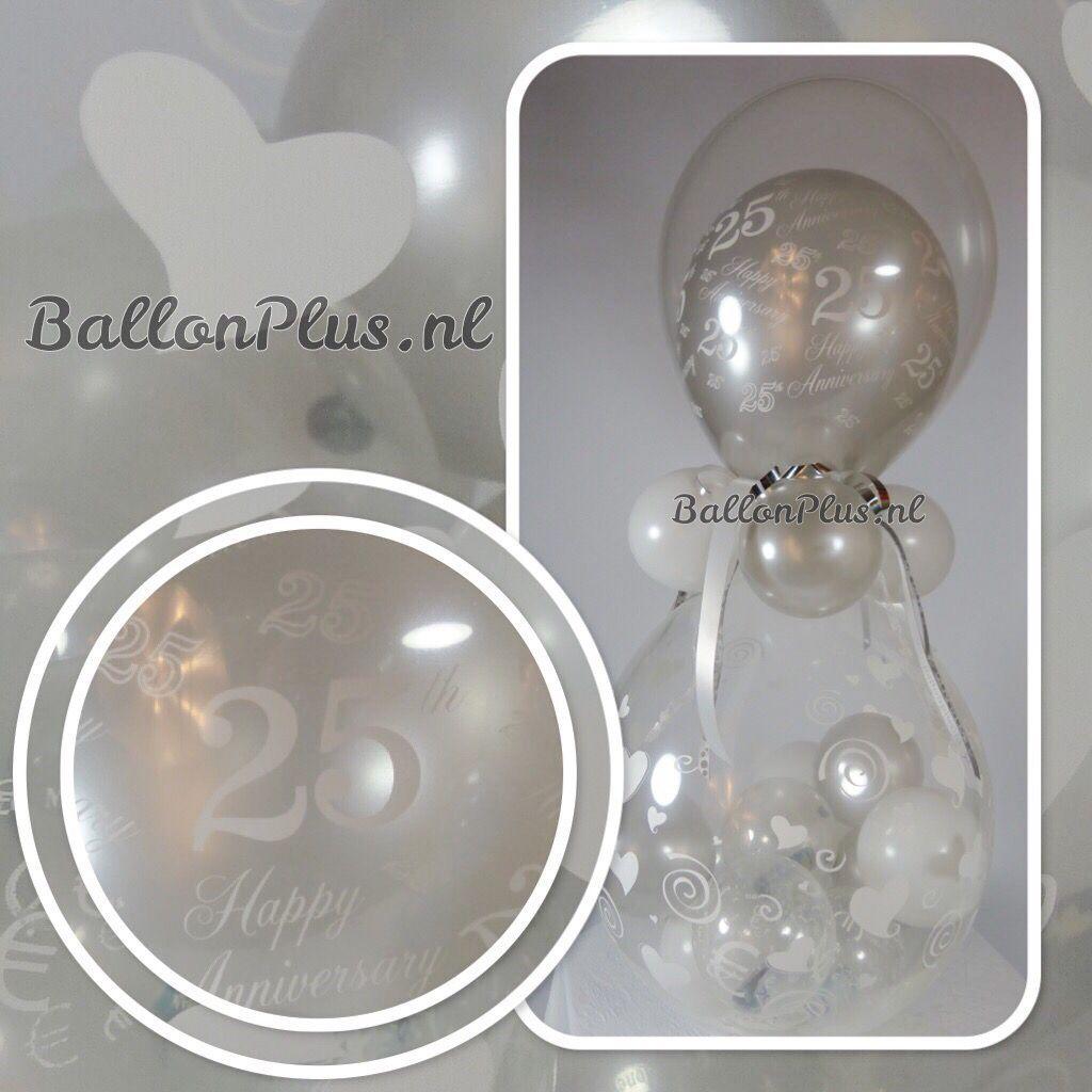 Fonkelnieuw Kado - Cadeau Ballon - 25 jaar getrouwd - Grijs / Wit - van RH-84