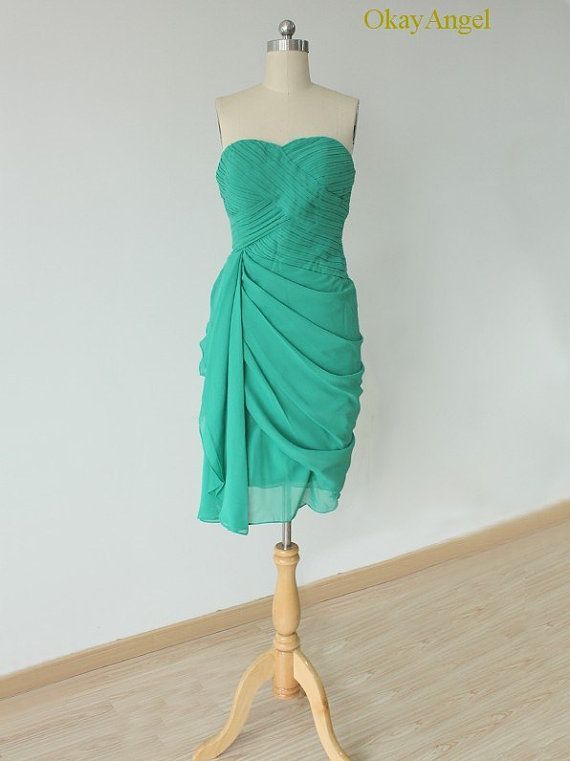 Turquoise Bridesmaid Dress One Side Pleated by OkayAngel on Etsy ...