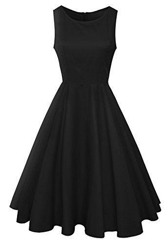 cb9bb1c82ce Anni Coco Women s Classy Audrey Hepburn 1950s Vintage Rockabilly Swing Dress  - https