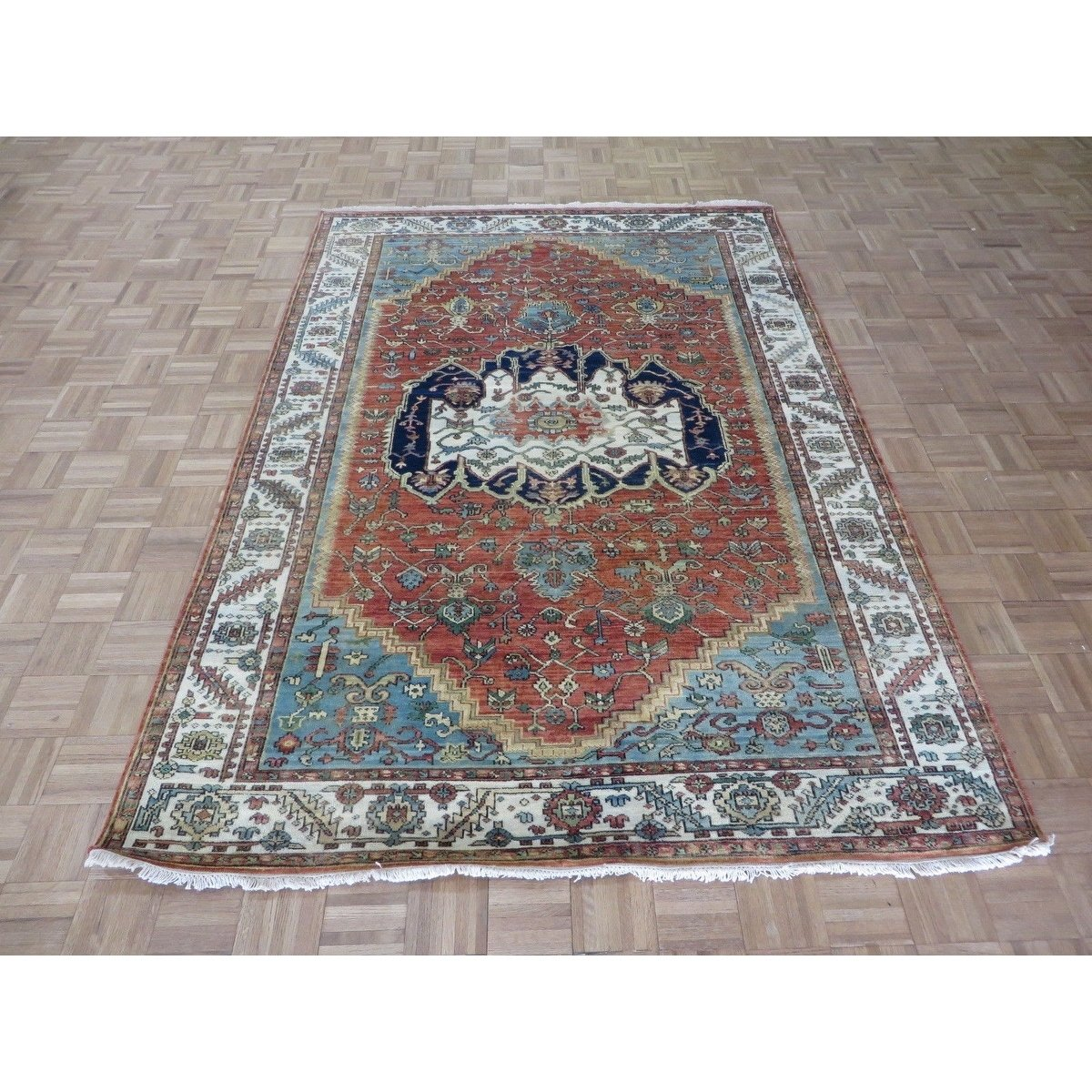 Hand Knotted Rust Orange Fine Serapi Heriz With Wool Oriental Rug
