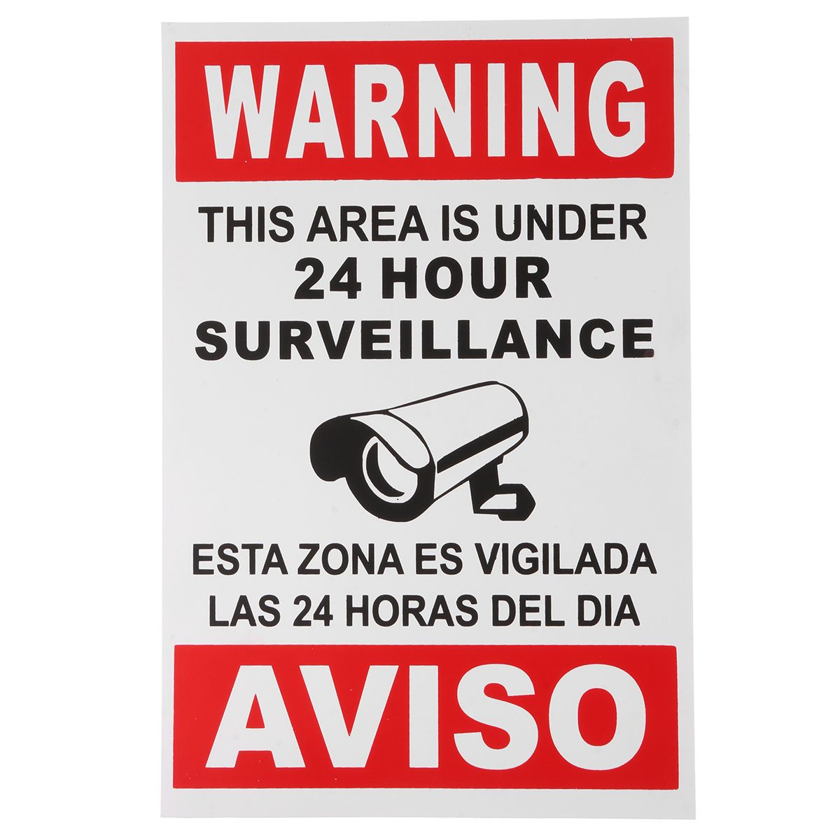 English Spanish Senal De Advertencia De Seguridad Camara Etiqueta