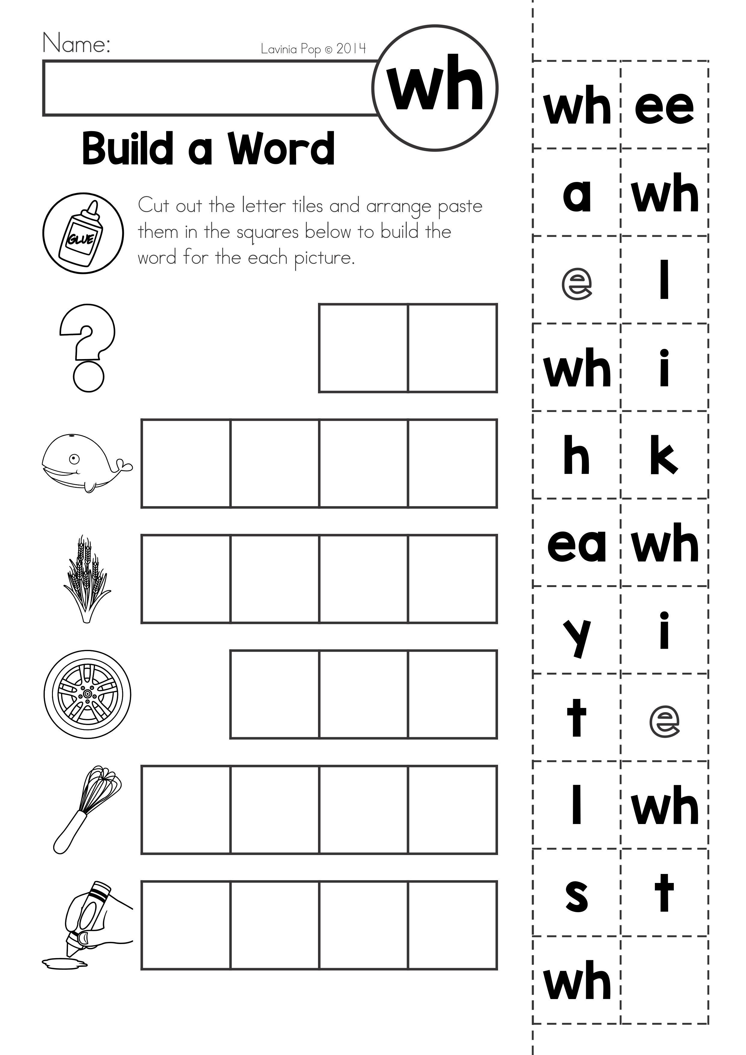 FREE Digraph WH: Phonics Word Work {Multiple Phonograms}. Phoneme  segmentation build a …   Kindergarten worksheets [ 3508 x 2482 Pixel ]