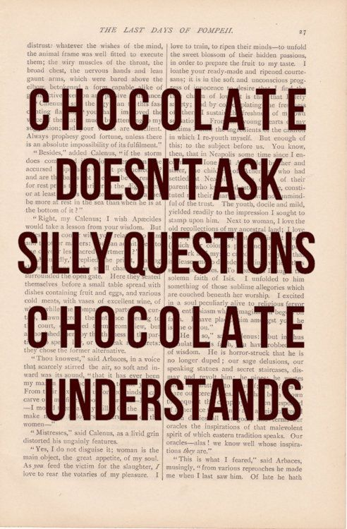 Chocolate Doesn T Ask Silly Questions Chocolate Understands Art Quotes Funny Funny Quotes Words