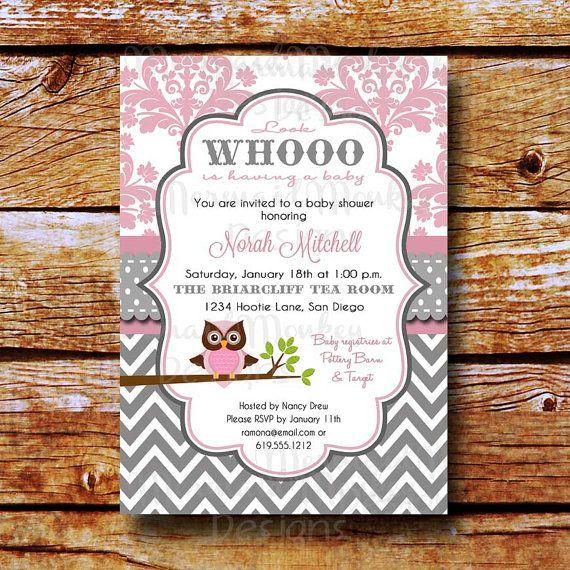Baby shower invitation owl shower invitation baby girl pink baby shower invitation owl shower invitation baby girl pink grey gray printable filmwisefo