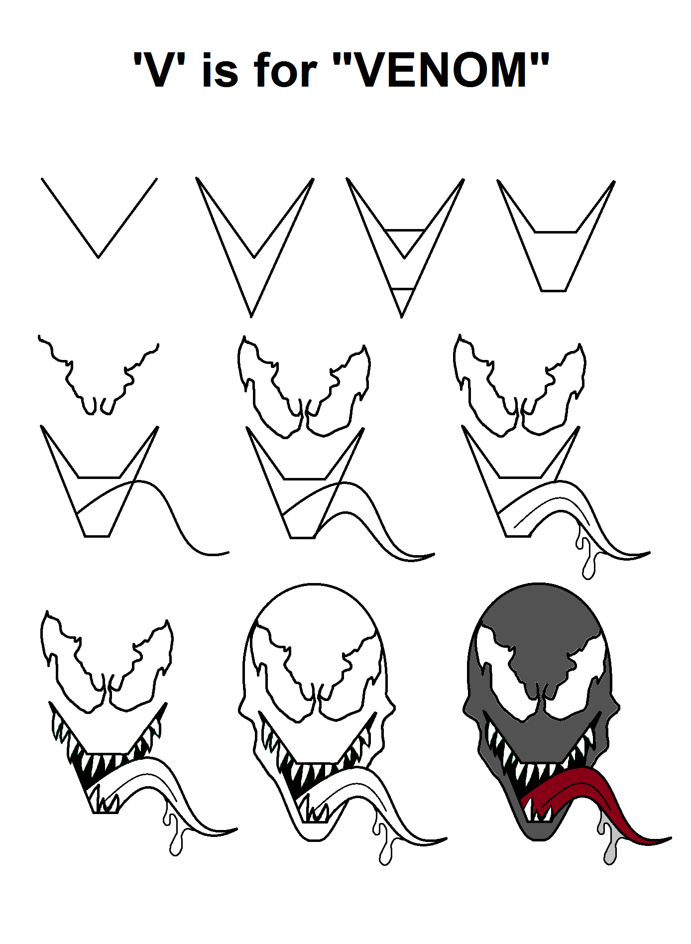 Step-by-step tutorial for drawing Venom with the letter 'V ...