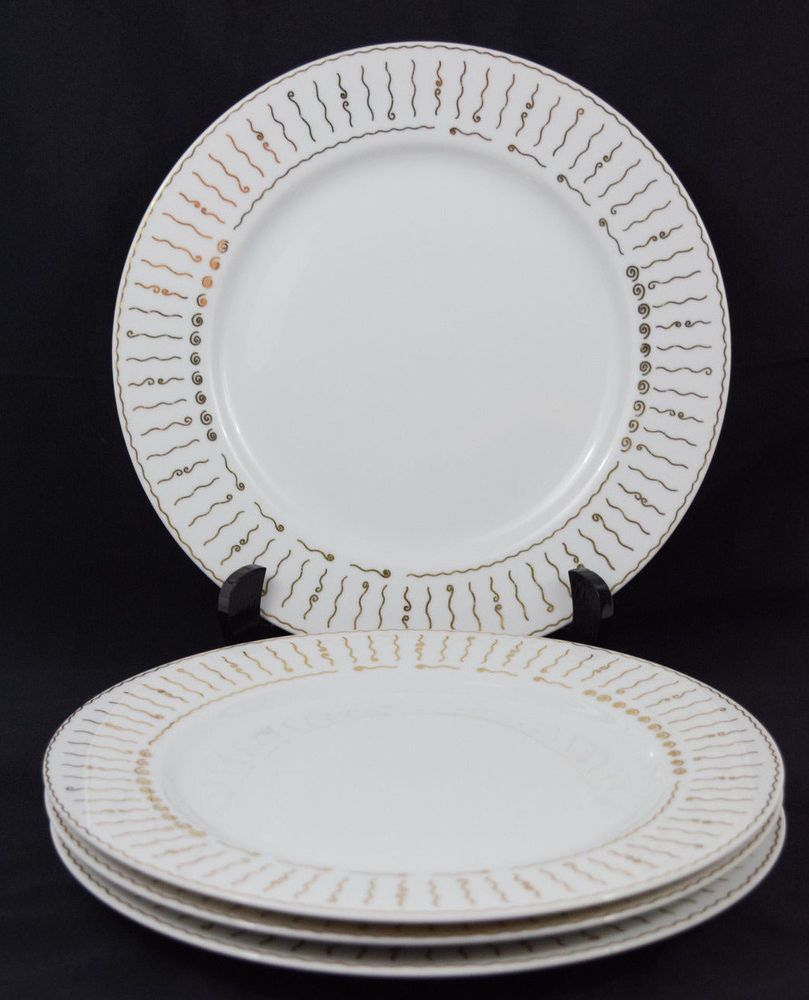 4 Pottery Barn Nile Dinner Plates 11  White Gold Wavy Lines Circles Rim China & 4 Pottery Barn Nile Dinner Plates 11