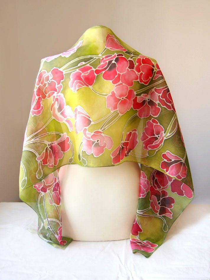 Poppies silk scarf by Luiza #Malinowska #minkulul