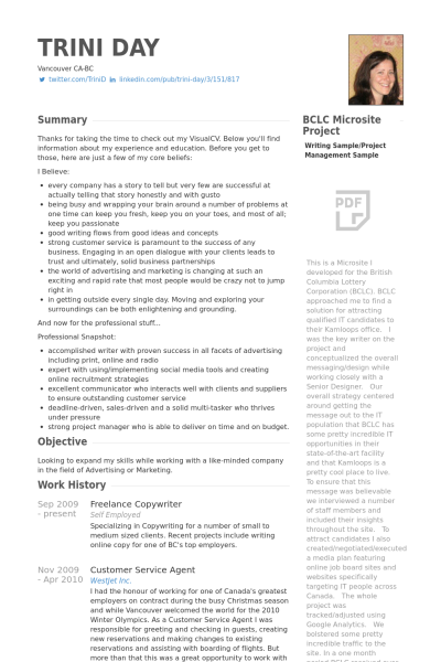 Copywriter Resume Image Result For Screenwriting Portfolio Example  Writer's