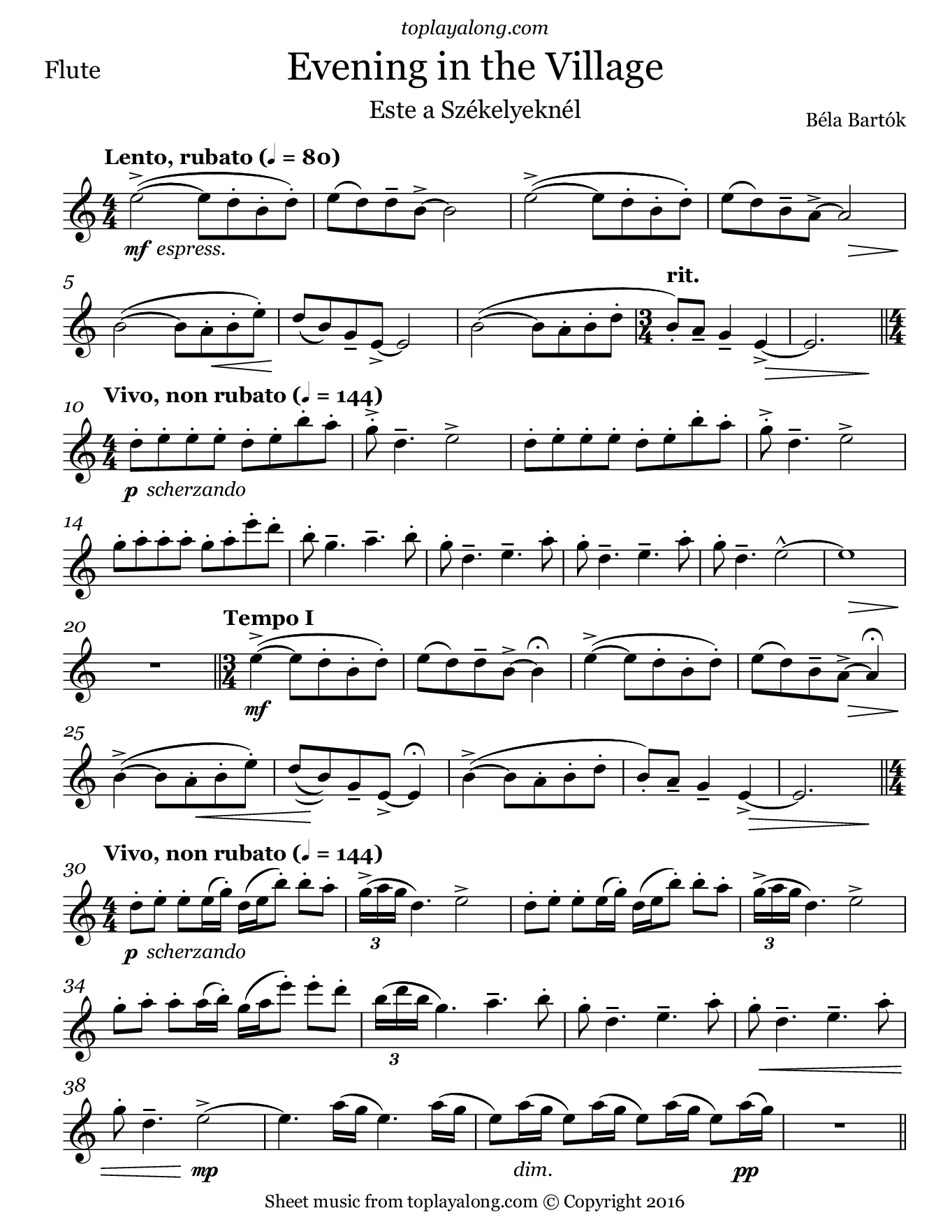 Evening In The Village By Bartok Free Sheet Music For Flute Visit Toplayalong Com And Get Access To Hundreds Sheet Music Flute Sheet Music Violin Sheet Music