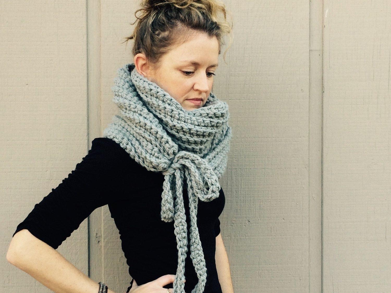 Diy crochet pattern super bulky yarn easy crochet p d f chunky diy crochet pattern super bulky yarn easy crochet p d f chunky yarn scarf cowl with ties bankloansurffo Images