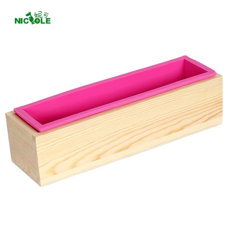 DIY Silicone Rectangular Soap Mold with Wooden Box Handmade Craft Cake Loaf Mold